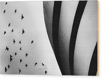 Wood Print featuring the photograph Guggenheim Museum With Pigeons by Dave Beckerman
