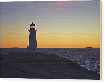 Peggy's Cove Lighthouse Wood Print by Heather Vopni