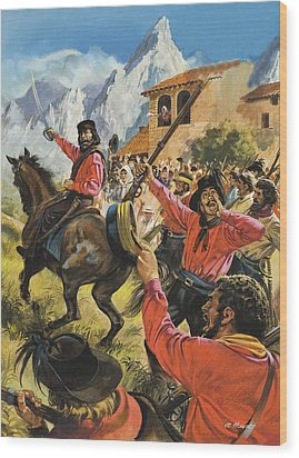 Guiseppe Garibaldi And His Army In The Battle With The Neopolitan Royal Troops Wood Print by Andrew Howat