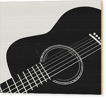 Guitar, Black And White,  Wood Print