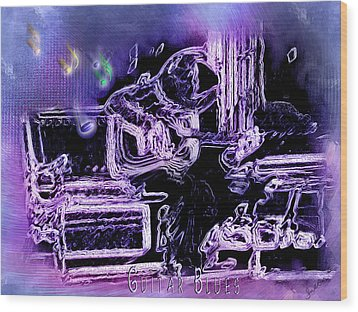Wood Print featuring the photograph Guitar Blues by Susan Kinney