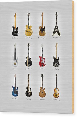 Guitar Icons No2 Wood Print by Mark Rogan