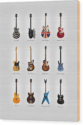 Guitar Icons No3 Wood Print by Mark Rogan