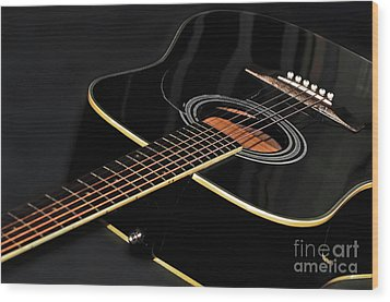 Wood Print featuring the photograph Guitar Low Key By Kaye Menner by Kaye Menner