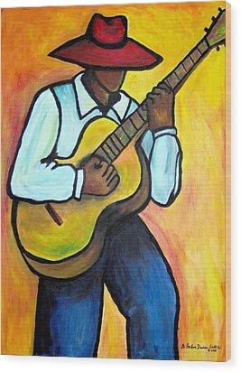 Wood Print featuring the painting Guitar Man by Diane Britton Dunham