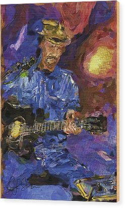 Guitar Man Wood Print by Shirley Stalter