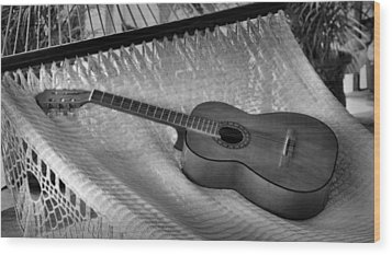 Wood Print featuring the photograph Guitar Monochrome by Jim Walls PhotoArtist