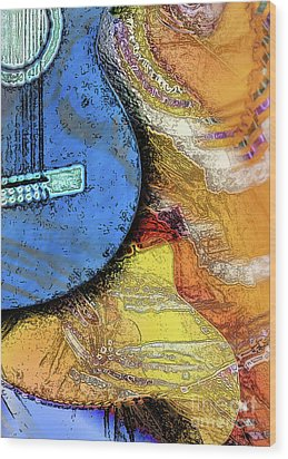 Wood Print featuring the painting Guitar Music by Allison Ashton