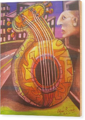 Guitar Out My Window Wood Print by Chris Boone