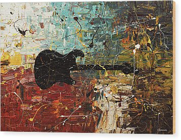 Wood Print featuring the painting Guitar Story by Carmen Guedez