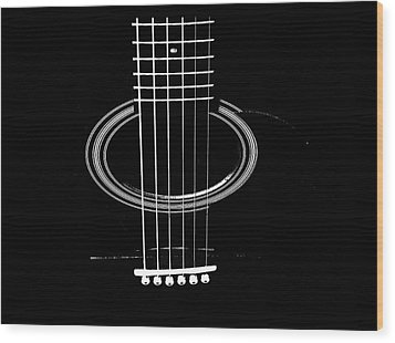 Guitar Strings Wood Print by Susan Stone