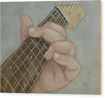 Guitar Strumming In 'g' Cord Wood Print by Kelly Mills