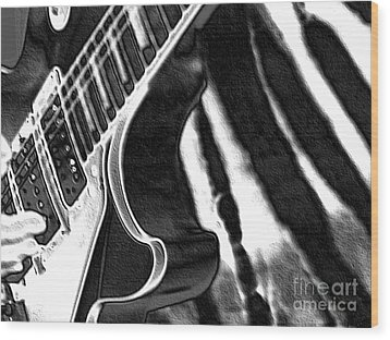 Wood Print featuring the photograph Guitar Zebra by Roxy Riou