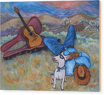 Wood Print featuring the painting Guitar Doggy And Me In Wine Country by Xueling Zou