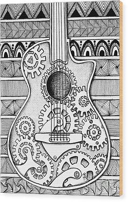 Guitarra No 2 Wood Print by Delein Padilla
