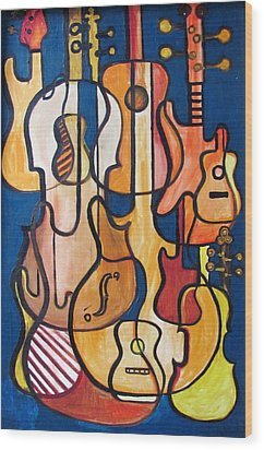 Guitars And Fiddles Wood Print by Douglas Pike