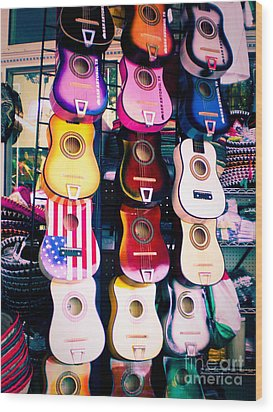 Guitars In San Antonio Market Wood Print by Sonja Quintero