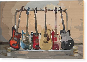 Guitars On A Rack Wood Print by Arline Wagner