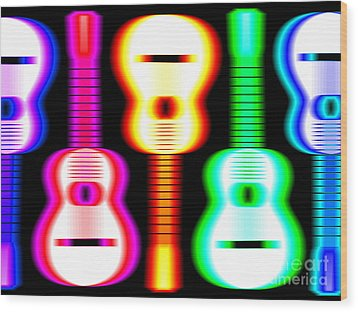Guitars On Fire 3 Wood Print by Andy Smy