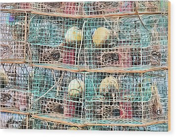 Wood Print featuring the digital art Gulf Coast Crab Traps by JC Findley