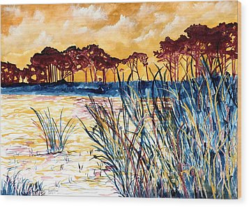 Gulf Coast Seascape Tropical Art Print Wood Print by Derek Mccrea