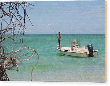 Gulf Fisherman Wood Print by Steven Scott