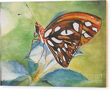 Wood Print featuring the painting Gulf Fritillary Butterfly by Sibby S