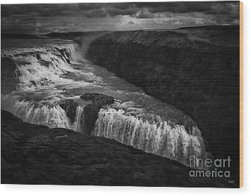 Wood Print featuring the photograph Gullfoss Waterfall by Nancy Dempsey
