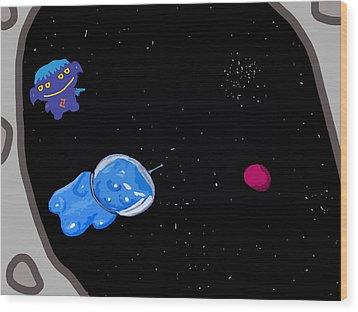 Gummy Bear In Space With Alien Wood Print by Jera Sky