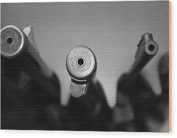 Gun Barrels Wood Print by Gina  Zhidov
