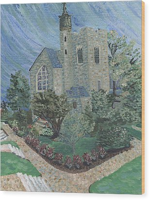 Wood Print featuring the painting Gunnison Chapel In The Last Days Of Summer by Denny Morreale