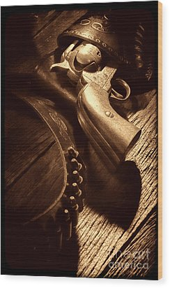 Gunslinger Tool Wood Print by American West Legend By Olivier Le Queinec
