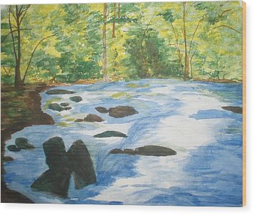 Wood Print featuring the painting Gushing At The Light by Trilby Cole