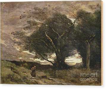 Gust Of Wind Wood Print by Jean Baptiste Camille Corot