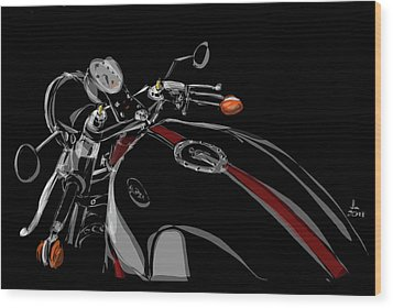 Wood Print featuring the drawing Guzzi by Jeremy Lacy