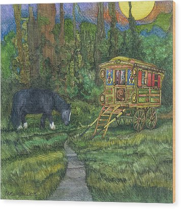 Gwendolyn's Wagon Wood Print by Casey Rasmussen White