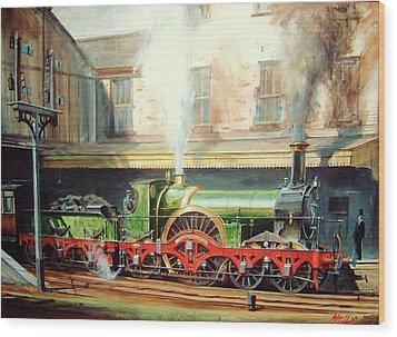 Wood Print featuring the painting Gwr Broad Gauge Single. by Mike Jeffries