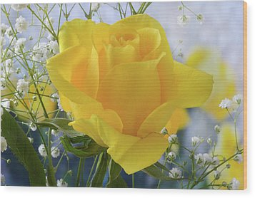 Wood Print featuring the photograph Gypsophila And The Rose. by Terence Davis