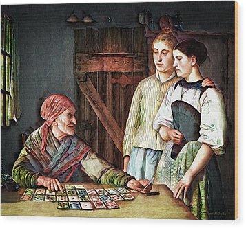Wood Print featuring the digital art Gypsy Card Reader by Pennie McCracken