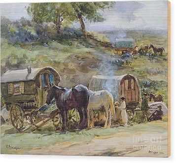 Gypsy Encampment Wood Print by John Atkinson