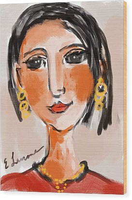 Wood Print featuring the digital art Gypsy Lady by Elaine Lanoue