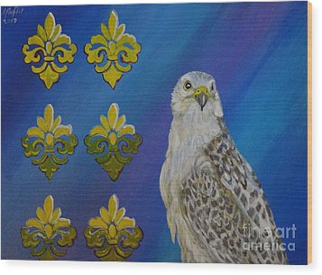 Gyr Falcon Wood Print by Isabel Proffit
