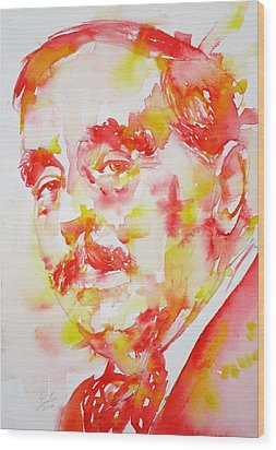 Wood Print featuring the painting H. G. Wells - Watercolor Portrait by Fabrizio Cassetta