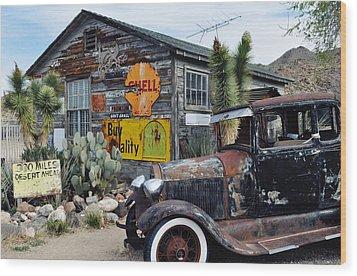 Hackberry Route 66 Auto Wood Print by Kyle Hanson