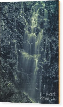 Hadlock Falls In Acadia National Park - Monochrome Wood Print
