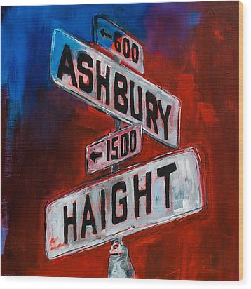 Wood Print featuring the painting Haight And Ashbury by Elise Palmigiani