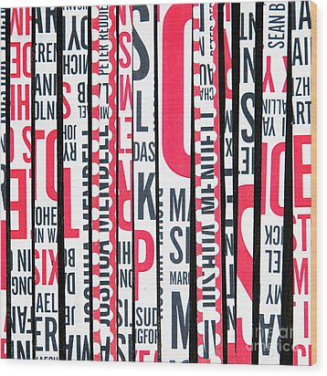 Wood Print featuring the mixed media Haiku In Red And Black by Elena Nosyreva
