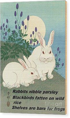 Haiku  Rabbits Nibble Parsley Wood Print by Pg Reproductions