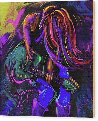 Hair Guitar 2 Wood Print