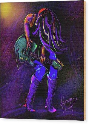 Hair Guitar Wood Print
